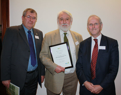 Professor Sam Berry pictured centre receiving Honorary Membership of the NBN Trust from Sir Neil Chalmers (then NBN Chairman) and Jim Munford (then NBN CEO)