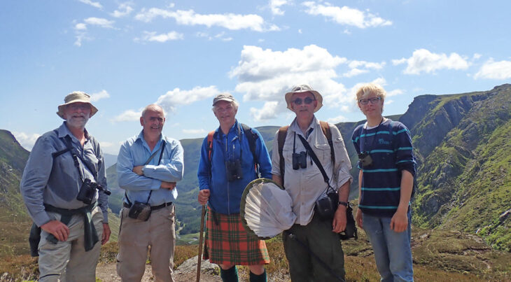 Dipterists Forum c. Nigel Jones On Meikle Kinrannoch. L-R Stuart Ball, Roger Morris, Iain MacGowan, Nigel Jones and Jan Billker. In search of rare upland Diptera.
